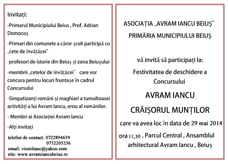 VERSO-INvitatie- CONCURS AVRAM IANCU 2012-2